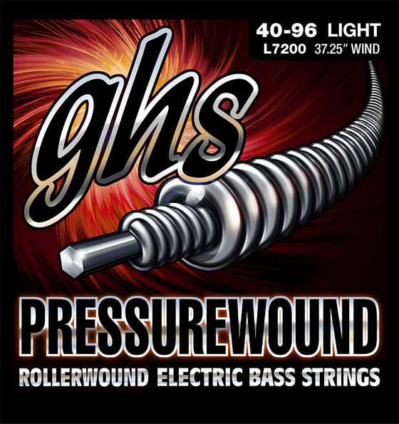 L7200 GHS Pressurewound Electric Bass String Set - Long Scale - Light 40-96