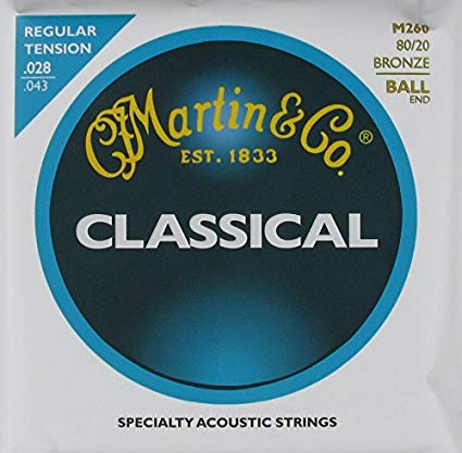 M260 Martin Classical Guitar String Set - Regular Tension Ball End / Folk 28-43