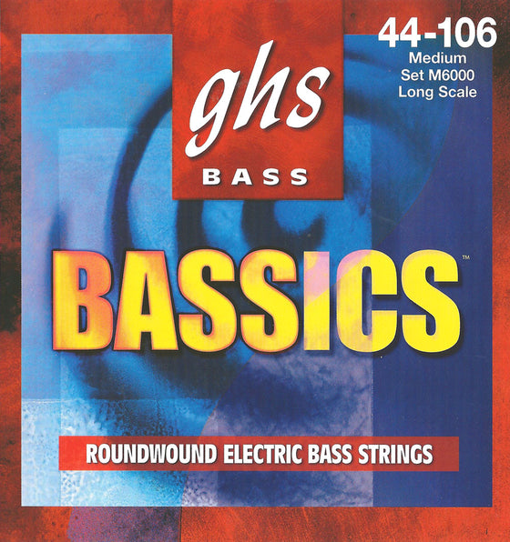 M6000 GHS Bassics Roundwound Electric Bass String Set - Long Scale - Medium 44-106