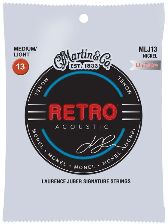 MLJ13 Martin Monel Retro Acoustic Guitar String Set - Medium/Light 13-56 by Laurence Juber