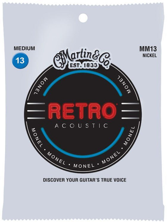MM13 Martin Retro Monel Acoustic Guitar String Set - Medium Light 13-56