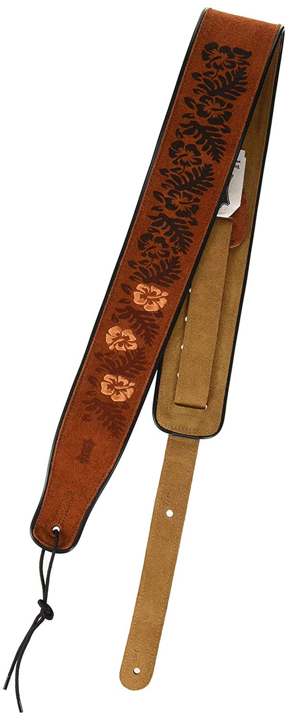 "MSS3EP-001 Levy's Leathers 2 1/2"" Guitar Strap - Suede w/ Emroidered and Printed Design"