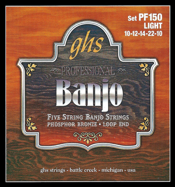 PF150 GHS Phosphor Bronze Banjo String Set - Loop End - Light
