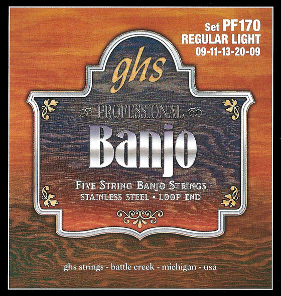 PF170 GHS Stainless Steel Banjo String Set - Loop End - Regular Light