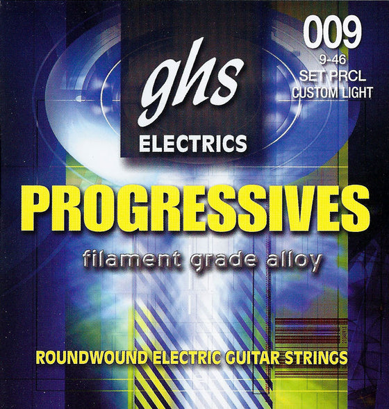 PRCL GHS Roundwound Progressives Electric Guitar String Set - Custom Light 9-46