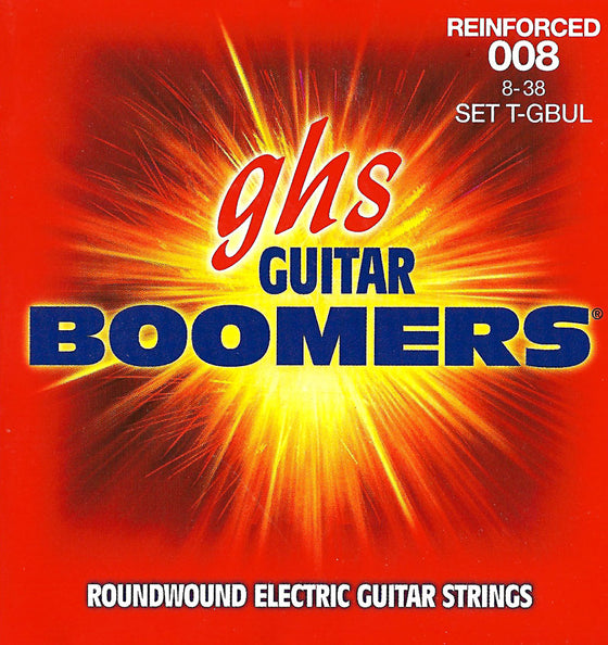 T-GBUL GHS Roundwound Boomers Electric Guitar String Set - Reinforced 8-38