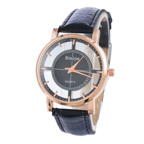 Leather Quartz Wrist Watches Rose Gold