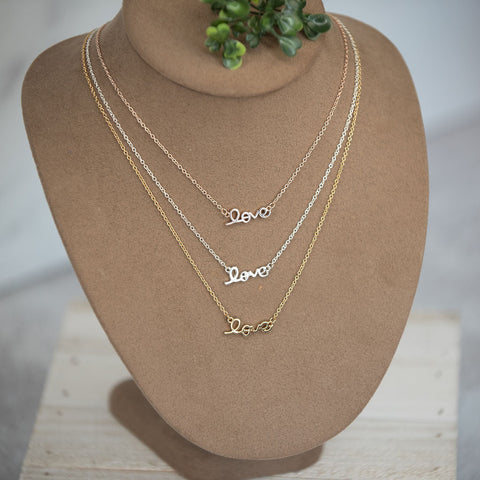 Script Love Necklace : available in silver, gold, and rose gold. - Lavender Willow