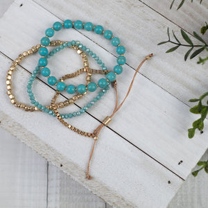 Bella Turquoise Beaded Bracelet Stack - Lavender Willow