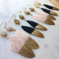 Druzy and Feather Earrings - Lavender Willow