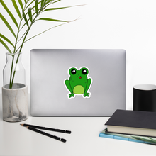 "Load image into Gallery viewer, Happy Frog 4"" Vinyl Sticker - Rhonda World"