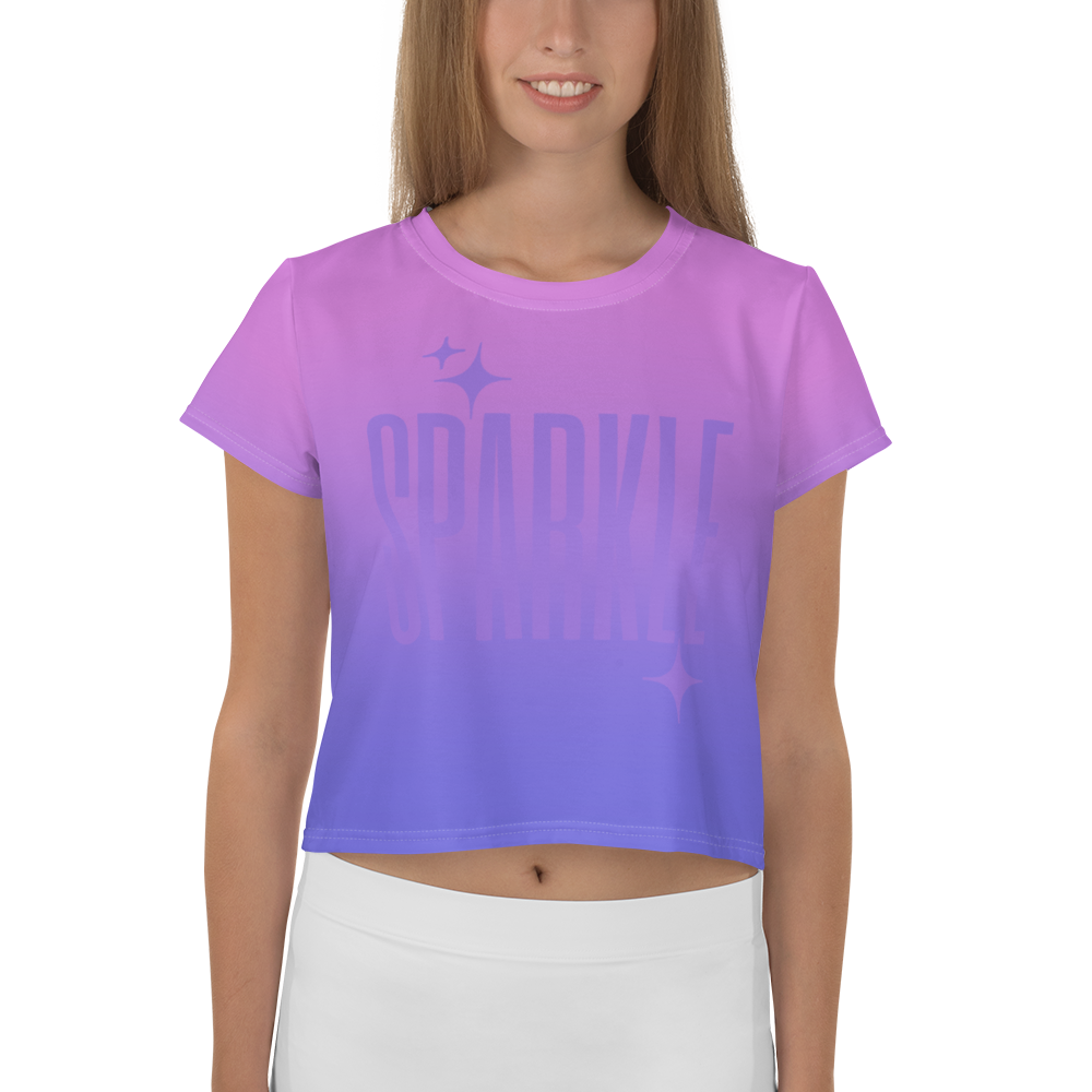 Sparkle Ghost Text Women's Crop Tee