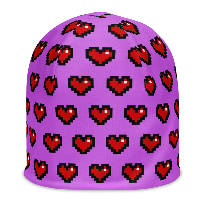 Purple Squad Hearts Adult Beanie