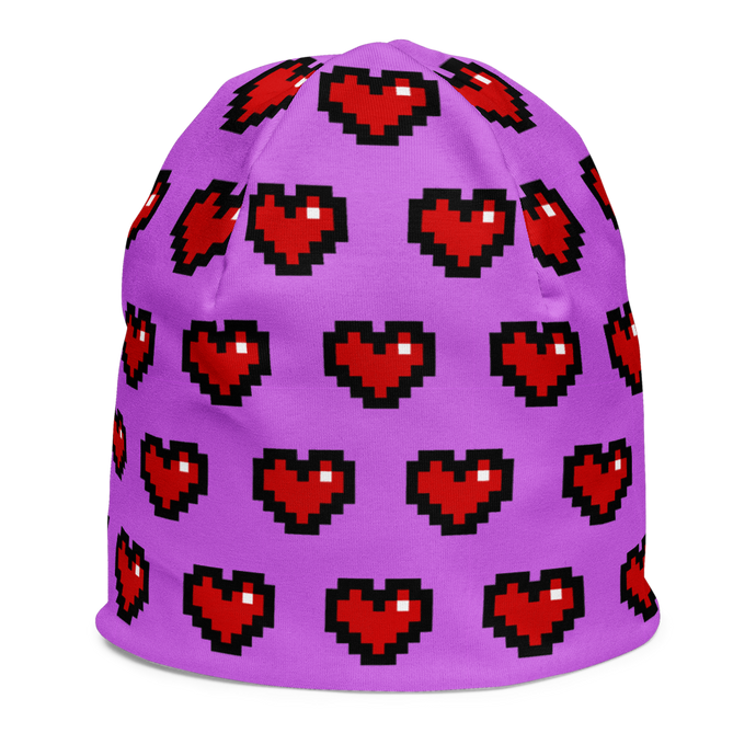 Purple Squad Hearts Kids Beanie