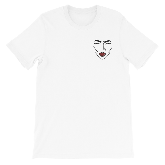 Comic Face Embroidered Unisex Adult Tee