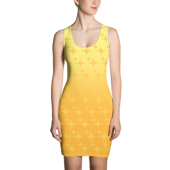 Yellow Ghost Sparkle Women's Bodycon Tank Dress