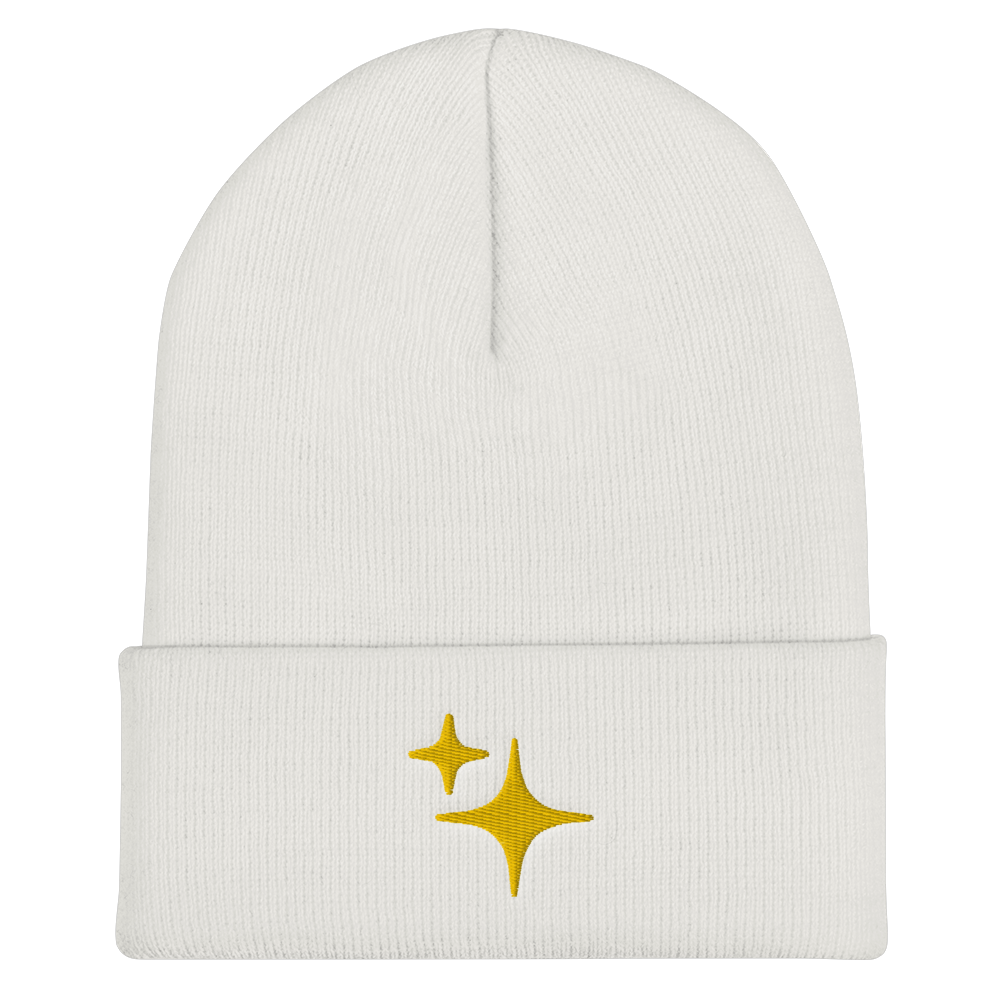 Yellow Sparkle Embroidered Beanie - Rhonda World
