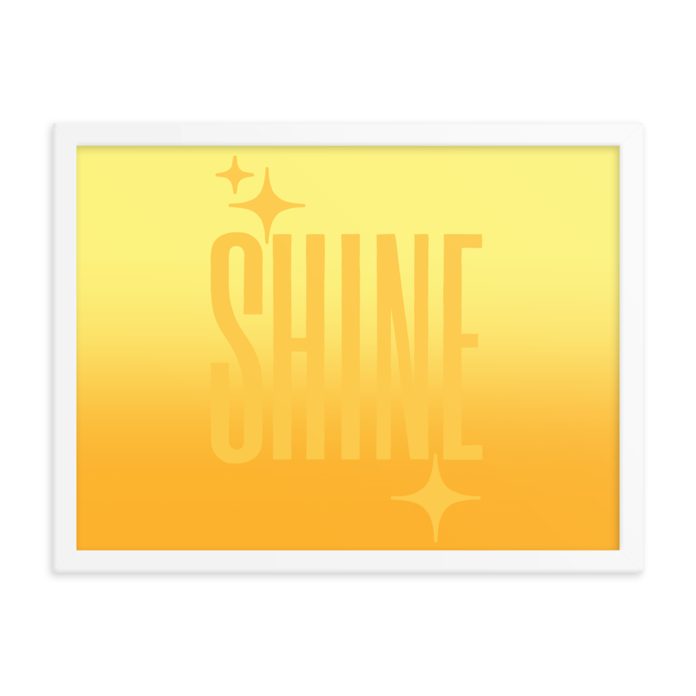 Framed Shine Ghost Text Poster - Rhonda World