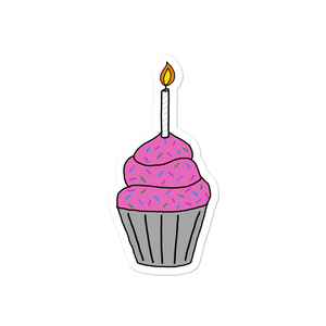 "Birthday Cupcake 4"" Vinyl Sticker"