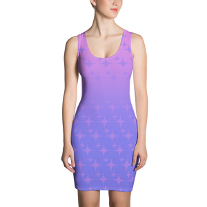 Purple Ghost Sparkle Women's Bodycon Tank Dress