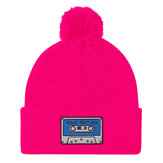Road Trip Mix Cassette Tape Embroidered Pom-Pom Beanie - Rhonda World