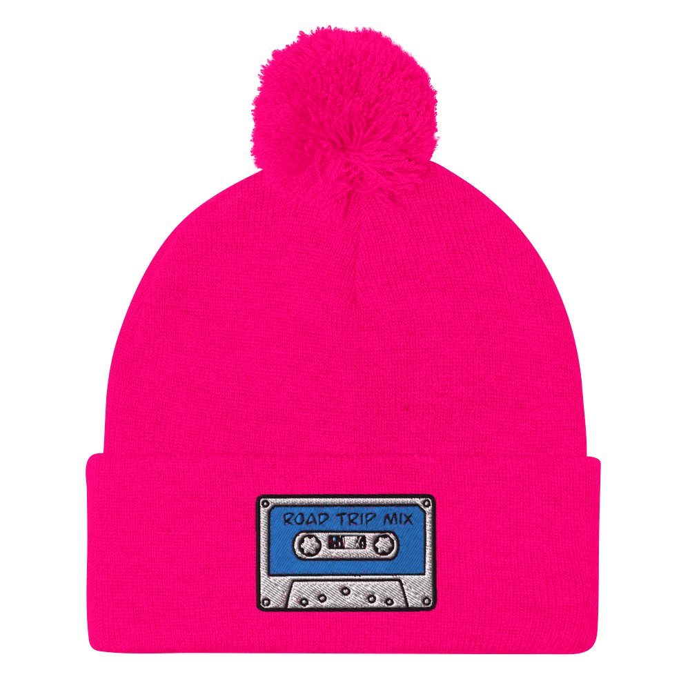 Road Trip Mix Cassette Tape Embroidered Pom-Pom Beanie