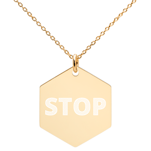 Stop Sign Engraved Necklace
