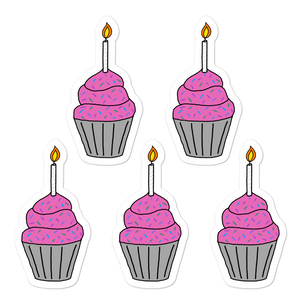 "Birthday Cupcake 5.5"" Vinyl Sticker Sheet"