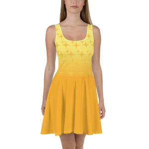 Yellow Ghost Sparkle Women's Skater Dress
