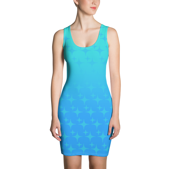 Blue Ghost Sparkle Women's Bodycon Tank Dress