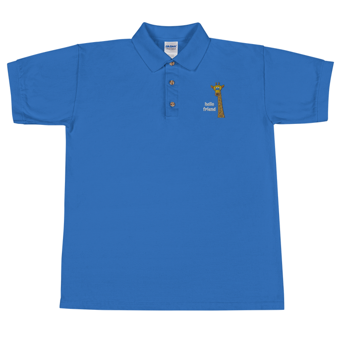 Friendly Giraffe Embroidered Men's Polo Shirt
