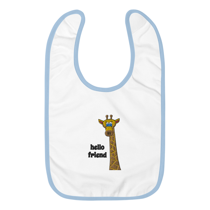 Friendly Giraffe Embroidered Baby Bib