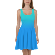 Load image into Gallery viewer, Blue Gradient Women's Skater Dress - Rhonda World