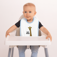 Load image into Gallery viewer, Friendly Giraffe Embroidered Baby Bib