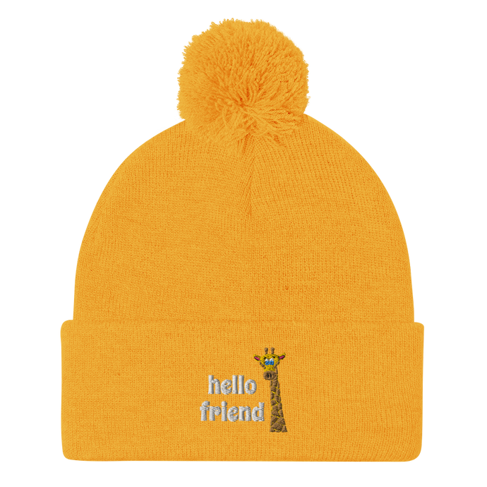 Friendly Giraffe Embroidered Pom-Pom Beanie