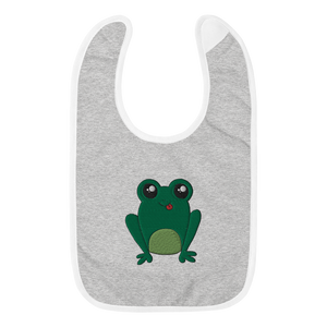 Happy Frog Embroidered Baby Bib