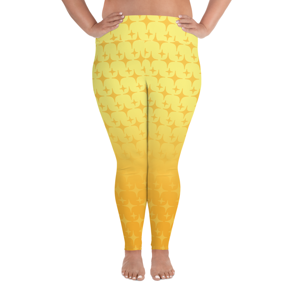 Yellow Ghost Sparkle Women's Plus Size Leggings