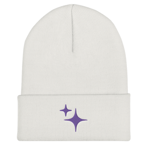 Purple Sparkle Embroidered Beanie