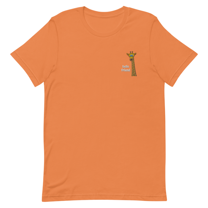 Friendly Giraffe Embroidered Unisex Adult Tee