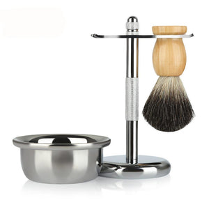 ZY Men Classic Shaving Kit Pure Badger Hair Brush Stand Holder Soap Bowl for Razor Facial Cleaning Tools