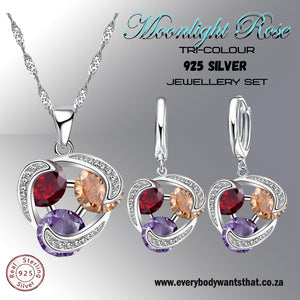 Moonlight Rose Tri-Colour 925 Sterling Silver Jewellery Set
