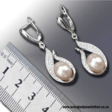 Siren's Secret Freshwater Pearl & Cubic Zirconia 925 Sterling Silver Jewellery Set