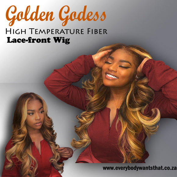 Golden Godess High Temperature Fiber Lace-front Wig