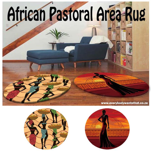 Round African Pastoral Area Rug