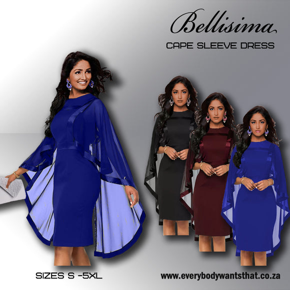 Bellissima Cape Sleeve Dress (S-5XL)