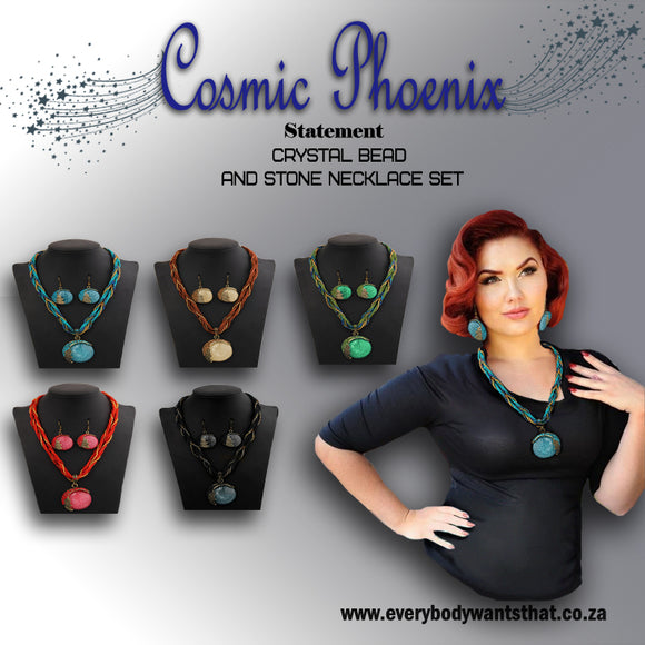 Cosmic Phoenix Crystal Bead and Stone Necklace Set