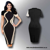Office Fancy Two Tone Dress (Sizes S -5XL)