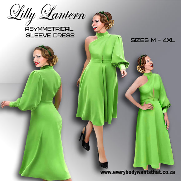 Lilly Lantern Asymmetrical Sleeve Dress (Sizes M-4XL)