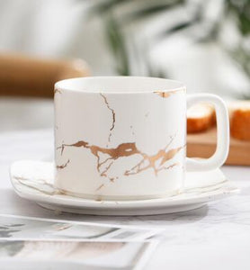 Rivers of Gold Marble Cups with Gold Accents