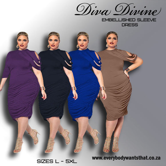 Diva Divine Embellished Sleeve Dress (Sizes L -5XL)